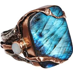 Sandra Dini Labradorite Rectangular Copper Ring with Opal ends via Polyvore