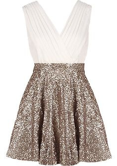 Glitter Empress Dress | Gold Sequin White Surplice Dresses | Rickety Rack on Wanelo
