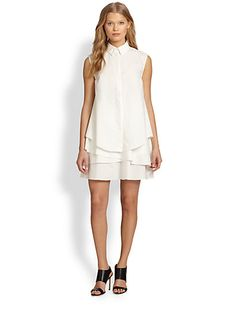 10 Crosby Derek Lam - Asymmetrical Tiered-Hem Sleeveless Shirtdress - Saks.com