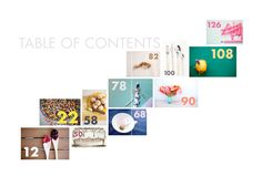 Table of content- I love the flow of this table of contents. It has such an interesting layout with the images taking on different sizes but still fitting quite well in the stair pattern. The large numbers are easy to view even from this small image. The colors work well together and seemed planed with the pastel scheme.