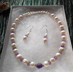 Lilac Mist - 925 Cultured Freshwater Pearl and faceted Amethyst - sterling silver necklace & earrings set -semi-precious gemstones, handmade Purple Jewelry, Pearl Jewelry, Gemstone Jewelry, Unique Jewelry, Semi Precious Gemstones, Ultra Violet, Sterling Silver Necklaces, Earring Set, Lilac