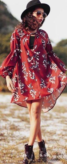 #boho #fashion #spring #outfitideas |Boho Printed Dress