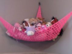 Stuffed Animal Storage Hammock in Bright Pink by millmelo on Etsy, $29.95