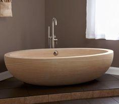signature hardware nubian sandstone tub with overflow Simple Bathroom, Modern Bathroom, Master Bathroom, Master Baths, Classic Bathroom, Sunken Bathtub, Stone Tub, Traditional Baths, Gadgets