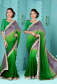 #Green,#Gray #Cotton #Silk #Designer #Saree #nikvik  #usa #designer #australia #canada #greensarees