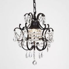 @Overstock - Create a romantic atmosphere in your bedroom with this one-light mini-crystal chandelier from Versailles. This light fixture features draped crystal accents that capture and reflect light and comes in a black finish that highlights its elegance.http://www.overstock.com/Home-Garden/Versailles-1-light-Black-Crystal-Mini-Chandelier/5247238/product.html?CID=214117 $89.99