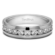 10k White Gold Channel Set Men's Wedding Ring Featuring Milgrain Design With White Sapphire (0.5 Cts., colorless, N/A) (10k White Gold, Size 8.5) (solid)