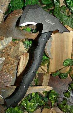 MTech USA MT-AXE13SW Camping Axe, Stonewashed Black Stainless Steel, Nylon Fiber Handle, 14.5-Inch Overall
