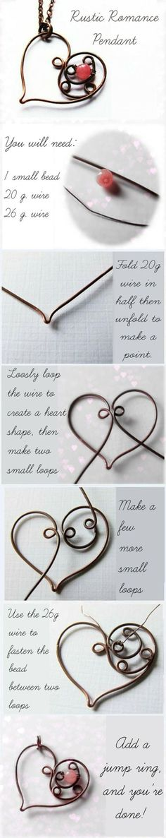Wire Heart Pendant Necklace making. Craft ideas from LC.Pandahall.com | Jewelry Making Tutorials & Tips 2 | Pinterest by Jersica