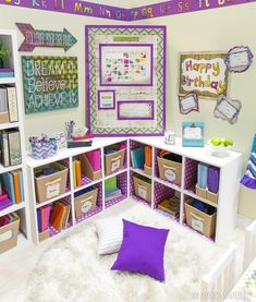 Create a fun and funky reading nook for your classroom with Retro Chic decor and accessories! #ClassroomDecorations #teachers