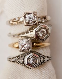 Art Deco diamond stacking rings