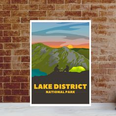 Lake District Print - Wild Camp Adventure Poster - Camping at Lake District National Park. Gift for hiker, climber - Mountain Art Wild Camp, Lake District, Climbers, Sunrise, National Parks, Poster Prints, England, Lovers, Camping