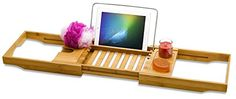 2016 Version Bamboo Bathtub Caddy Extendable to 41 Inches Great For A Relaxing Bath Experience  Multi Positions to get the Right Book Reading Angle  Tray Organizer For Your Phone And Wineglass >>> Check out this great product.