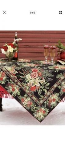 35 00 April Cornell 70 Round Tablecloth Black With Floral Pattern Boho French Country Round Tablecloth Dining Linens Black Round Dining Table