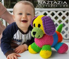 Crochet colorful puppy - toy dog amigurum can do regular colours too ;)