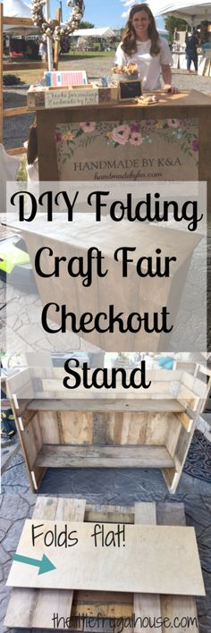 See how I built a DIY Folding Craft Fair Checkout Stand with scrap wood and 0 Ring up customers and package gifts on your own checkout station Craft Fair Displays, Craft Show Booths, Vendor Displays, Vendor Booth, Market Displays, Craft Show Ideas, Display Ideas, Booth Ideas, Display Design