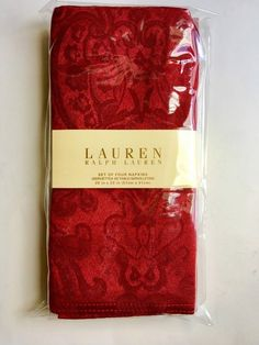 Ralph Lauren 4 Cloth Napkins NEW Red Dressage Paisley Christmas Thanksgiving  #RalphLauren