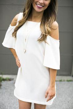 Cream Cold Shoulder Shift Dress | Lane201 Boutique