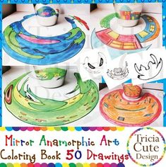 Mystery Pictures! Contained in this coloring booklet are 50 mysterious drawings that are to be viewed by placing a cylindrical mirror on the image to reveal the real picture. That will be an exciting art activities for your kids. Let your kids color the deformed images and amaze them by revealing the real images!Materials needed to reveal the images:1.Mirrored Foil.2.Any cylinder with diameter between 1.5  2 inches. (If you dont have mirrored foil, you can use any cylinder that has a…