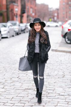 Kensie sweater xs, Topshop jeans sz 25 x 30 (size up), old hat ( similar ) Blank NYC jacket xs, Abercrombie vest xs, Goyard bag, Sa...