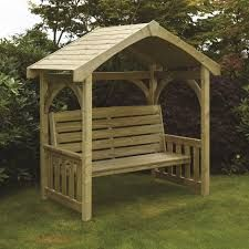 garden seating This traditional design seating area featuring a garden bench with casing and roof, makes it a firm favourite with homeowners, community spaces and hotels alike. Woodworking Workbench, Woodworking Furniture, Woodworking Projects, Garage Workbench, Woodworking Quotes, Pallet Furniture, Rustic Furniture, Furniture Ideas, Wooden Garden Furniture