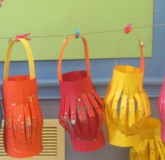 Preschool children at KU Clairmont have been making lanterns for Chinese New Year, practising their cutting skills, sticking on a handle and decorating
