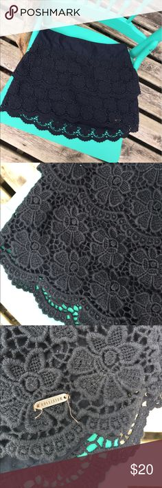 Navy Blue Lace Ruffle Skirt Perfect for summer lacy skirt! Dark navy blue and made of cotton. Feel free to ask questions or make an offer! Hollister Skirts Mini