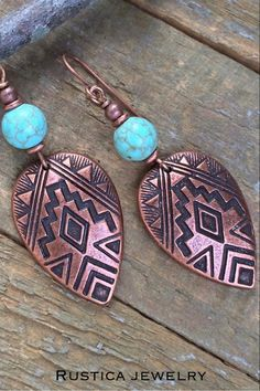 Handmade Dangles Earthy rustic southwestern style boho green magnesite stone copper feather