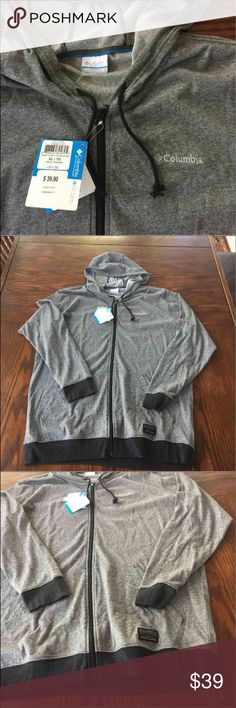 COLUMBIA ZIP UP HOODIE MENS XL NWT RETAIL $65. Super thin lightweight all season hoodie. Layer or were with T. Grey and Black Columbia Jackets & Coats Lightweight & Shirt Jackets