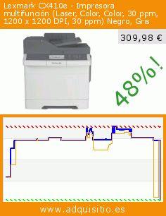 Lexmark CX410e - Impresora multifunción (Laser, Color, Color, 30 ppm, 1200 x 1200 DPI, 30 ppm) Negro, Gris (Ordenadores personales). Baja 48%! Precio actual 309,98 €, el precio anterior fue de 591,35 €. https://www.adquisitio.es/lexmark/cx410e-impresora