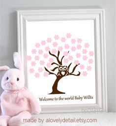 Thumbprint tree at the baby shower or a great idea for a family baby shower guest book idea could do leaves as the guests finger prints solutioingenieria Image collections