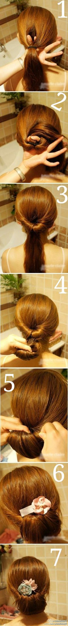 An Updated Chignon - Lazy Hair Day Summer Hairstyles, Pretty Hairstyles, Easy Hairstyles, Girl Hairstyles, Wedding Hairstyles, Creative Hairstyles, Wedding Updo, Interview Hairstyles, Bridal Bun