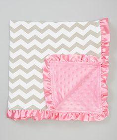 Love this Little Gem Pink & Taupe Zigzag Minky Stroller Blanket by Little Gem on #zulily! #zulilyfinds