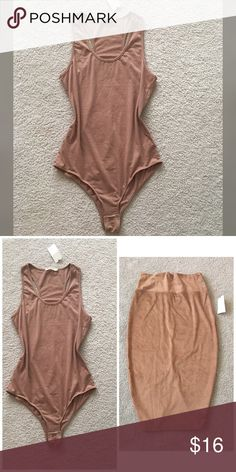 Brown bodysuit New with tag bodysuit! Beautiful and trendy color, 60% cotton, 30% polyester 5 % spandex. You can add Tan trousers from my closet and The outfit will Look perfect! Tops Crop Tops