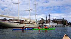 Victoria Kayak Tours and Rentals paddles around Athena at the Inner Harbour, Victoria, BC. www.VictoriaKayak.com