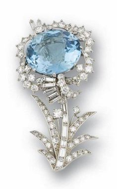 An aquamarine and diamond brooch, by Cartier Of floral design, centering a circular-cut aquamarine, highlighted by scalloped brilliant and baguette-cut diamonds, to a baguette-cut diamond stem, mounted in platinum, signed Cartier, French assay mark, brooch length 5.0cm.