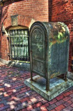 Vintage Mailbox on a brick sidewalk in Boston's Beacon Hill neighborhood.  Boston Art Photography by Joann Vitali #Mailbox #Boston #USPost #BeaconHill #USMail