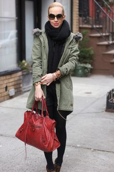 Like this look...olive parka + black + loepard shoes...not that I could pull it off