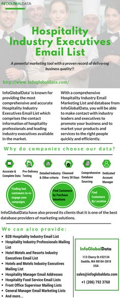 Reach the right audience with InfoGlobalData updated and most accurate Hospitality Industry Executives Business Mailing Lists. The list consists of Hospitality Industry Executives with high deliver…