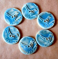 6 Stoneware Bird Buttons - Handmade Ceramic Bird Buttons in Sky Blue