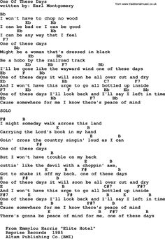 Old time song lyrics with chords for just a little talk with jesus emmylou harris song one of these days lyrics and chords stopboris Images