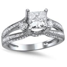 14k White Gold 1 1/2ct TDW Princess-cut Diamond Engagement Ring (G-H, SI1-SI2)