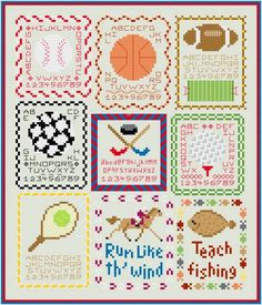Free Mini Cross Stitch Patterns | cross stitch pattern Sport Mini-Sampler Collection