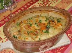 pomme de terre, poireau, carotte, Poissons, riesling, lait, crême fraîche, fumet, ail, feuille de laurier, thym, Poivre, Sel, graisse d'oie...