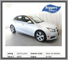 2011 Chevrolet Cruze LT Sedan  Bucket Seats, Rear Defrost, Driver Air Bag, A/C, Rear Parking Assist, Passenger Air Bag Sensor, Satellite Radio, Leather Wrapped Steering Wheel