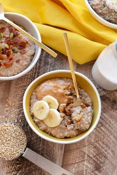Put the oats into the slow cooker to have a hot, hearty breakfast in the morning.