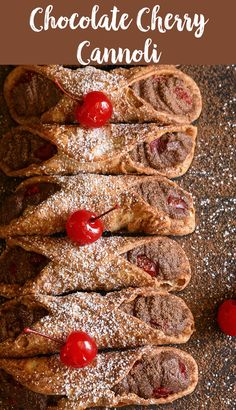 Chocolate Cherry Cannoli-When made from scratch, cannolis can be time-intensive, but for this recipe we started with pre-made cannoli shells making for a much easier and faster dessert. We stayed true to the recipe's Italian roots by filling them Wontons, Macaroons, Pastry Recipes, Cooking Recipes, Churros, Moist Banana Muffins, Just Desserts, Dessert Recipes, Cannoli Filling