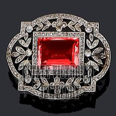 Antique Finished 4.88Cts Rose Cut Diamond Ruby Studded Silver Brooch Pin Jewelry #estateVictorianJewelery #HandMadeDiamondGemstoneBroochesPin