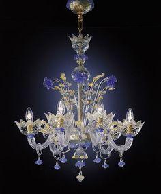 chandelier, blue glass, crystal