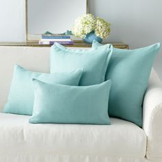 European Flax Linen Pillow Cover - Aqua Rectangle